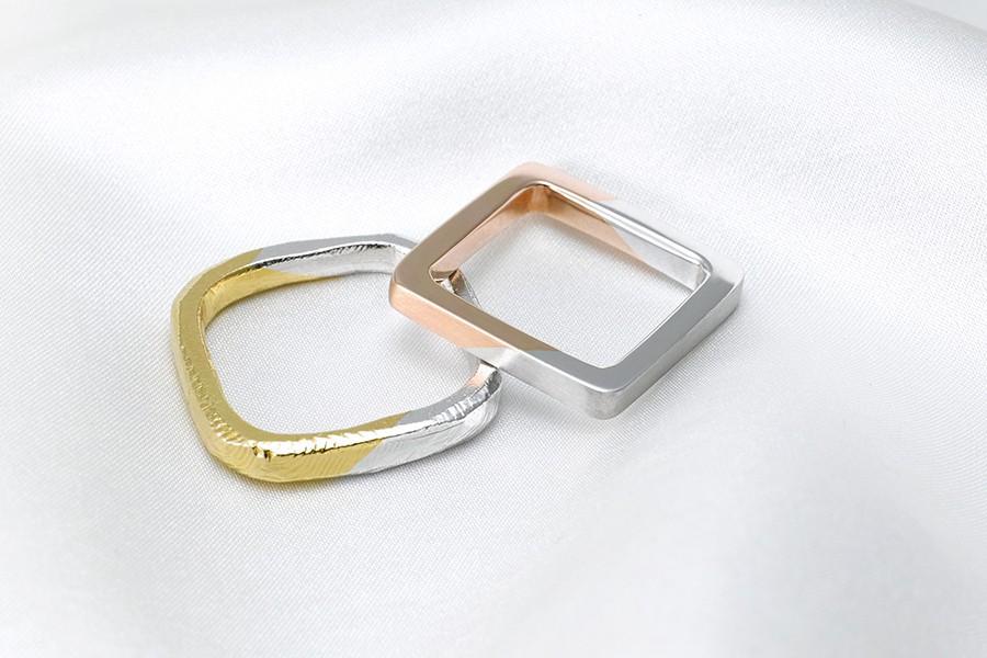 指輪の内側も四角になっていますが、意外とつけ心地も良く指にフィットします。どんなデザインでも四角にするだけで、とても個性的な結婚指輪が完成します。